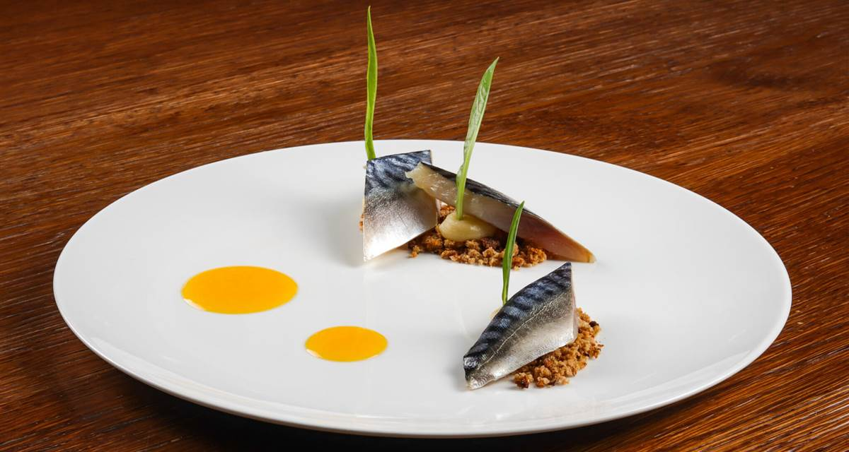 Marinated mackerel and passion fruit
